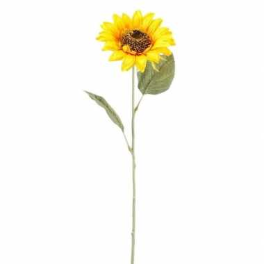 Gele zonnebloem kunstbloem 62 cm