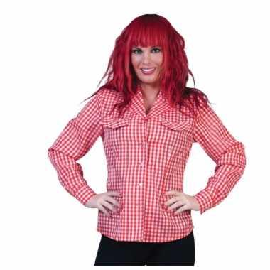 Geruit dames overhemd rood/wit