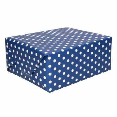 Geschenkpapier donkerblauw met stippen 70 x 200 cm