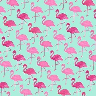Geschenkpapier groen met flamingo 70 x 200 cm