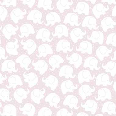 Geschenkpapier lichtroze met olifantjes 70 x 200 cm