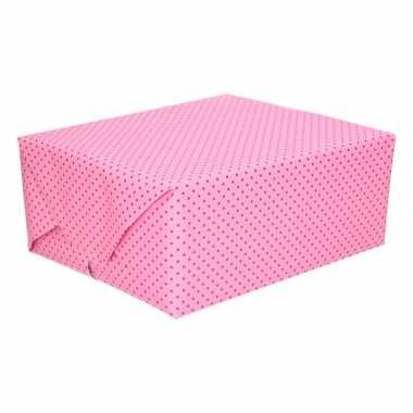 Geschenkpapier lichtroze met stip 70 x 200 cm