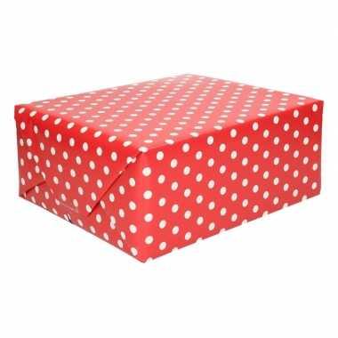Geschenkpapier rood met stippen 70 x 200 cm