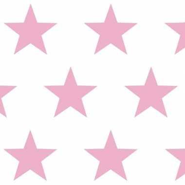 Geschenkpapier wit met lichtroze sterren 70 x 200 cm