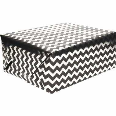 Geschenkpapier zwart met wit 70 x 150 cm