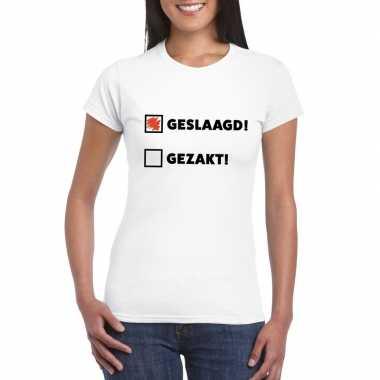 Geslaagd/ gezakt t-shirt wit dames
