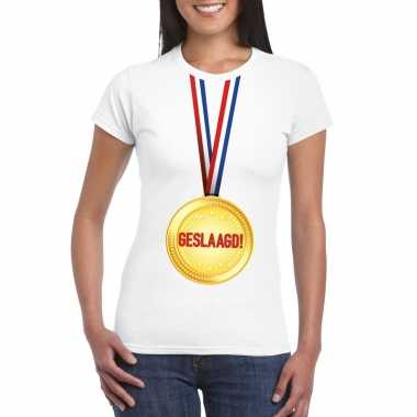 Geslaagd medaille t-shirt wit dames