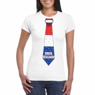 Geslaagd stropdas t-shirt wit dames