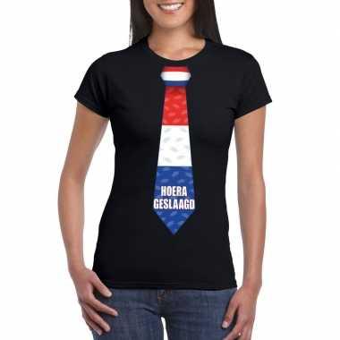 Geslaagd stropdas t-shirt zwart dames