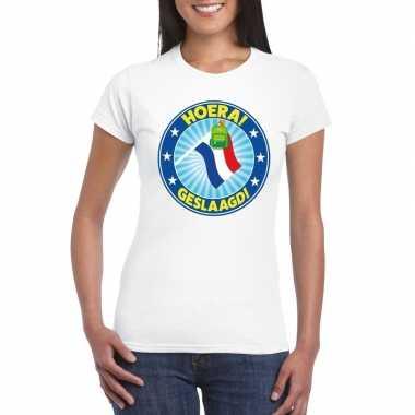 Geslaagd t-shirt met vlaggenmast met tas wit dames