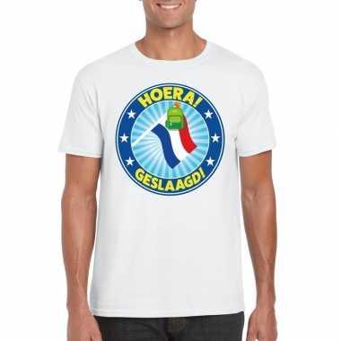 Geslaagd t-shirt met vlaggenmast met tas wit heren