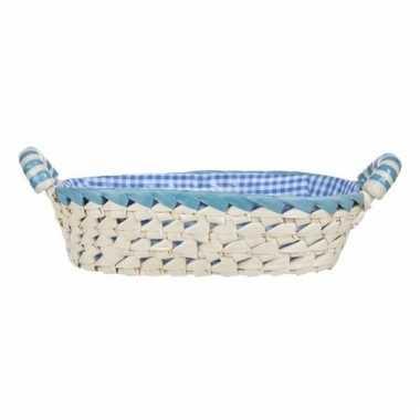 Gestoffeerd ovaal mandje met keramieken handvaten medium blauw
