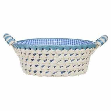 Gestoffeerd rond mandje met keramieken handvaten large blauw