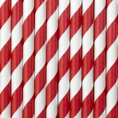 Gestreepte papieren rietjes rood/wit 30x stuks