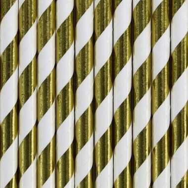 Gestreepte rietjes van papier goud/wit 30 stuks