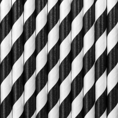 Gestreepte rietjes van papier zwart/wit 20 stuks