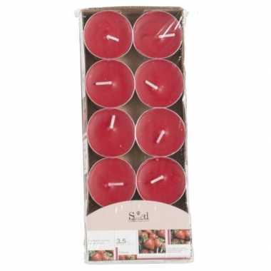Geur theelichtjes aardbei rood 10 stuks