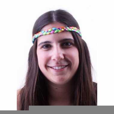 Gevlochten haarbandje in regenboog kleuren
