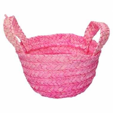 Gevlochten opbergmandje roze 15 x 10 cm