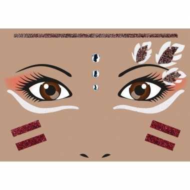 Gezicht stickers indiaan 1 vel