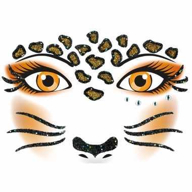 Gezicht stickers luipaard 1 vel