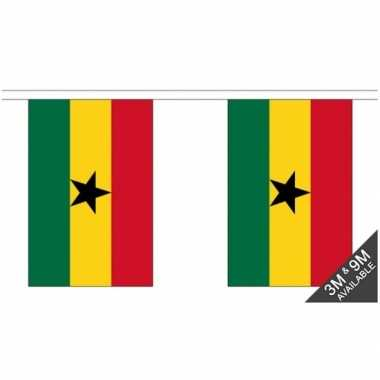 Ghana vlaggenlijn van stof 3 m