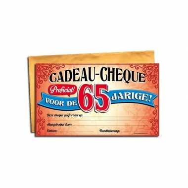 Gift cheque voor de 65 jarige