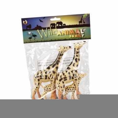Giraffe familie rubber 4st