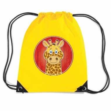 Giraffe rugtas / gymtas geel voor kinderen