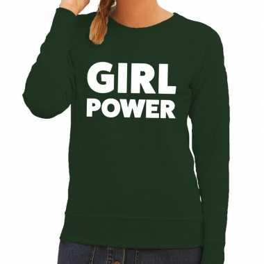 Girl power tekst sweater groen voor dames