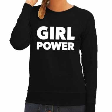Girl power tekst sweater zwart voor dames