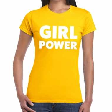 Girl power tekst t-shirt geel dames