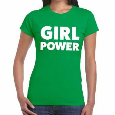 Girl power tekst t-shirt groen dames