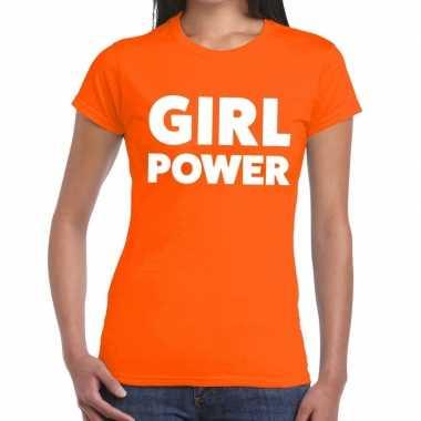 Girl power tekst t-shirt oranje dames