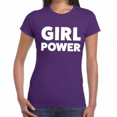 Girl power tekst t-shirt paars dames