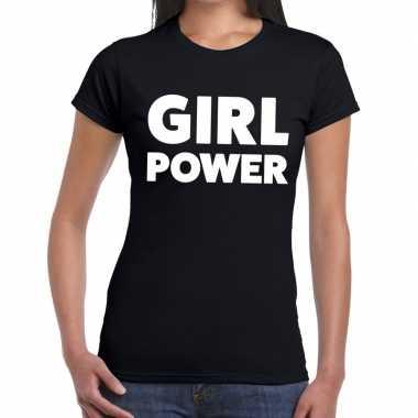 Girl power tekst t-shirt zwart dames