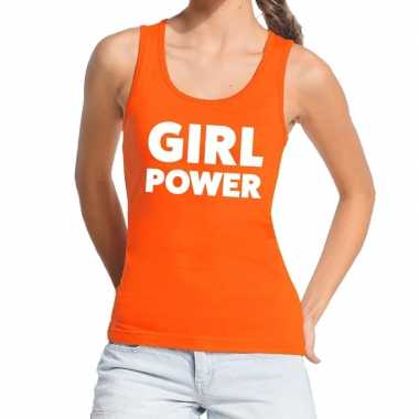 Girl power tekst tanktop / mouwloos shirt oranje