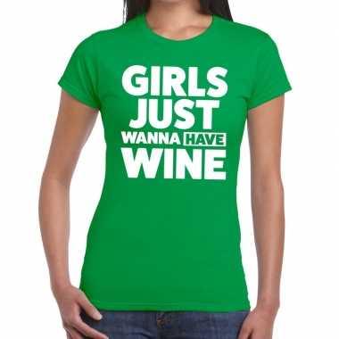 Girls just wanna have wine tekst t-shirt groen dames