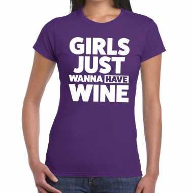 Girls just wanna have wine tekst t-shirt paars dames