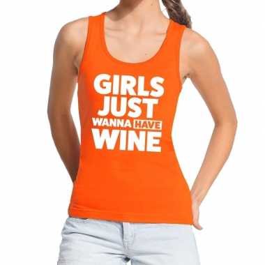 Girls just wanna have wine tekst tanktop / mouwloos shirt oranje