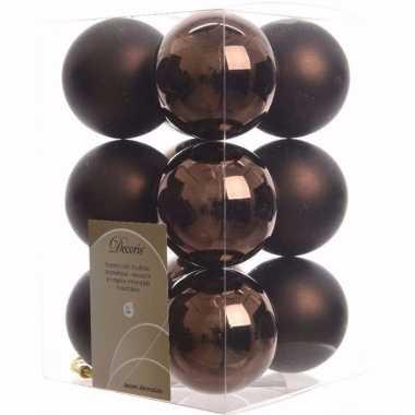 Glamour christmas kerstboom decoratie kerstballen bruin 12 x