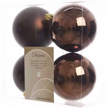 Glamour christmas kerstboom decoratie kerstballen bruin 4 x