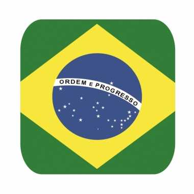 Glas viltjes met braziliaanse vlag 15 st
