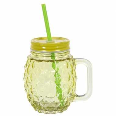 Glazen ananas drinkpotje/drinkglas met deksel 450 ml geel