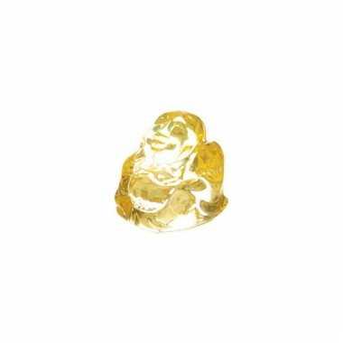 Glazen boeddha beeldje geel voor binnen
