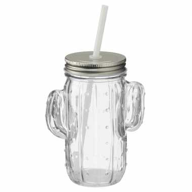 Glazen cactus drinkpotje/drinkglas met deksel 400 ml transparant