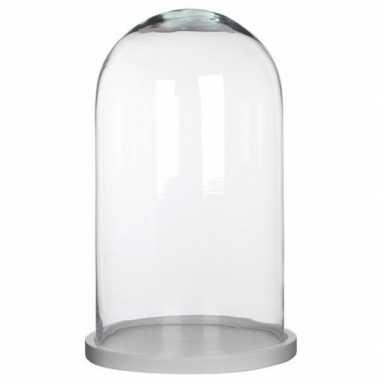 Glazen decoratie stolp hella op wit houten plateau 23 x 38 cm