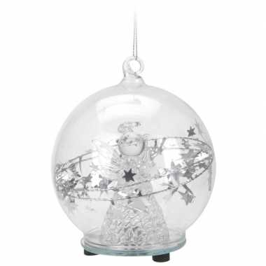 Glazen kerstbal 8 cm met kerstengel en led verlichting