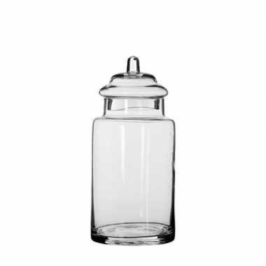 Glazen snoeppot / opslag pot met deksel 28 x 13 cm