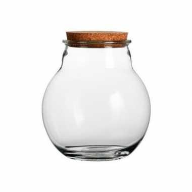 Glazen voorraadpot met kurk deksel 19 x 21 cm